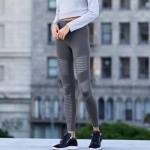 Alo Yoga Moto Gray High Waisted Legging